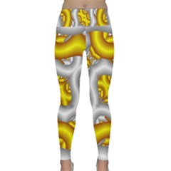 Fractal Background With Golden And Silver Pipes Lightweight Velour Classic Yoga Leggings