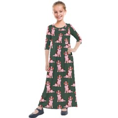 Dog Animal Pattern Kids  Quarter Sleeve Maxi Dress