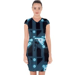 A Completely Seamless Background Design Circuitry Capsleeve Drawstring Dress