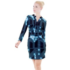 A Completely Seamless Background Design Circuitry Button Long Sleeve Dress by Jojostore