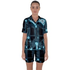 A Completely Seamless Background Design Circuitry Satin Short Sleeve Pyjamas Set by Jojostore