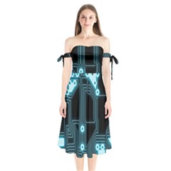 A Completely Seamless Background Design Circuitry Shoulder Tie Bardot Midi Dress