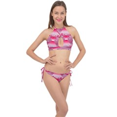 Seamless Repeat Repeating Pattern Cross Front Halter Bikini Set