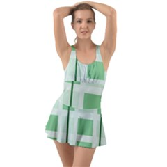 Abstract Green Squares Background Ruffle Top Dress Swimsuit