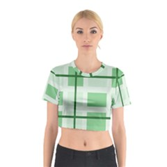 Abstract Green Squares Background Cotton Crop Top