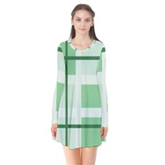 Abstract Green Squares Background Long Sleeve V Neck Flare Dress