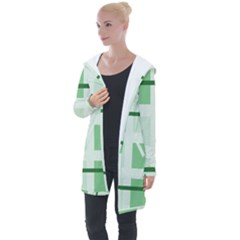 Abstract Green Squares Background Longline Hooded Cardigan