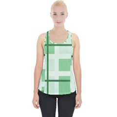 Abstract Green Squares Background Piece Up Tank Top