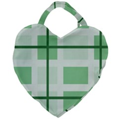 Abstract Green Squares Background Giant Heart Shaped Tote