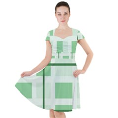 Abstract Green Squares Background Cap Sleeve Midi Dress