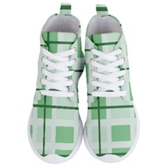 Abstract Green Squares Background Women s Lightweight High Top Sneakers