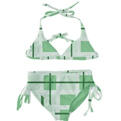 Abstract Green Squares Background Kids  Classic Bikini Set