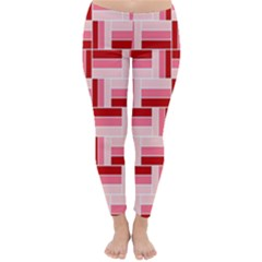 Pink Red Burgundy Pattern Stripes Classic Winter Leggings