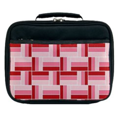 Pink Red Burgundy Pattern Stripes Lunch Bag by Jojostore