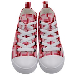 Pink Red Burgundy Pattern Stripes Kid s Mid Top Canvas Sneakers