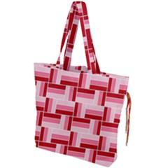 Pink Red Burgundy Pattern Stripes Drawstring Tote Bag by Jojostore