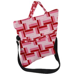 Pink Red Burgundy Pattern Stripes Fold Over Handle Tote Bag by Jojostore