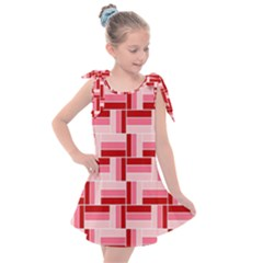 Pink Red Burgundy Pattern Stripes Kids  Tie Up Tunic Dress