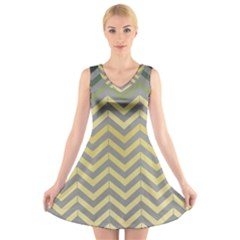 Abstract Vintage Lines V Neck Sleeveless Dress