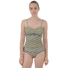 Abstract Vintage Lines Sweetheart Tankini Set