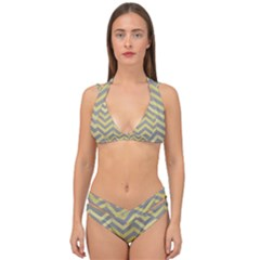 Abstract Vintage Lines Double Strap Halter Bikini Set