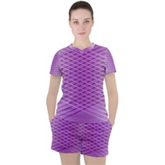 Abstract Lines Background Women s Tee And Shorts Set