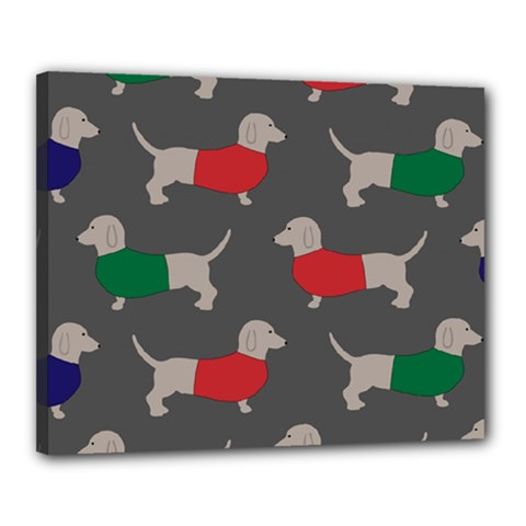 Cute Dachshund Dogs Wearing Jumpers Wallpaper Pattern Background Canvas 20  X 16  (stretched)