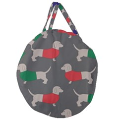 Cute Dachshund Dogs Wearing Jumpers Wallpaper Pattern Background Giant Round Zipper Tote
