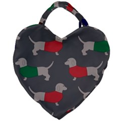Cute Dachshund Dogs Wearing Jumpers Wallpaper Pattern Background Giant Heart Shaped Tote by Jojostore