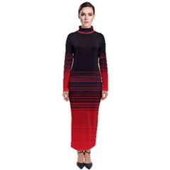 Abstract Of Red Horizontal Lines Turtleneck Maxi Dress