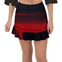 Abstract Of Red Horizontal Lines Fishtail Mini Chiffon Skirt
