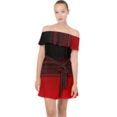 Abstract Of Red Horizontal Lines Off Shoulder Chiffon Dress