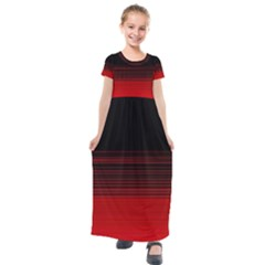 Abstract Of Red Horizontal Lines Kids  Short Sleeve Maxi Dress