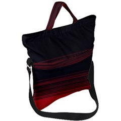 Abstract Of Red Horizontal Lines Fold Over Handle Tote Bag by Jojostore