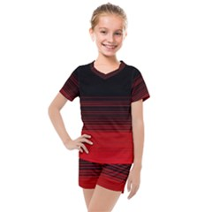 Abstract Of Red Horizontal Lines Kids  Mesh Tee And Shorts Set by Jojostore