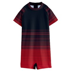 Abstract Of Red Horizontal Lines Kids  Boyleg Half Suit Swimwear by Jojostore