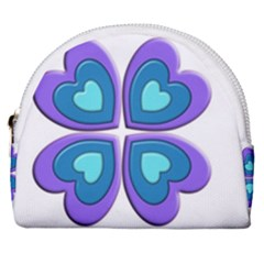 Light Blue Heart Images Horseshoe Style Canvas Pouch