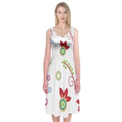 Colorful Floral Wallpaper Background Pattern Midi Sleeveless Dress by Jojostore