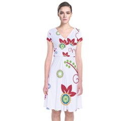 Colorful Floral Wallpaper Background Pattern Short Sleeve Front Wrap Dress