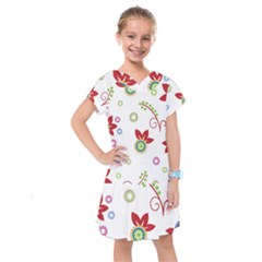 Colorful Floral Wallpaper Background Pattern Kids  Drop Waist Dress