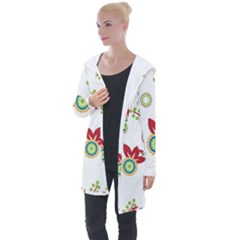 Colorful Floral Wallpaper Background Pattern Longline Hooded Cardigan