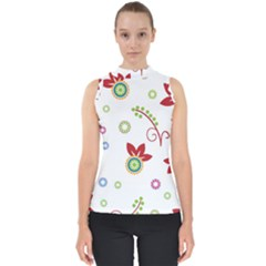 Colorful Floral Wallpaper Background Pattern Mock Neck Shell Top