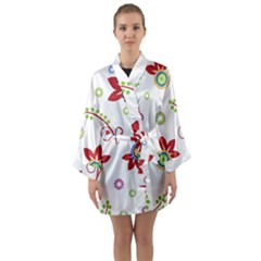 Colorful Floral Wallpaper Background Pattern Long Sleeve Kimono Robe