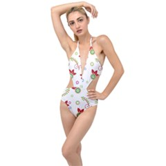 Colorful Floral Wallpaper Background Pattern Plunging Cut Out Swimsuit
