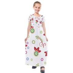 Colorful Floral Wallpaper Background Pattern Kids  Short Sleeve Maxi Dress by Jojostore