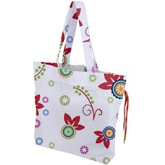 Colorful Floral Wallpaper Background Pattern Drawstring Tote Bag