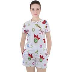 Colorful Floral Wallpaper Background Pattern Women s Tee And Shorts Set