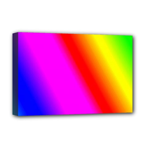 Multi Color Rainbow Background Deluxe Canvas 18  X 12  (stretched) by Jojostore