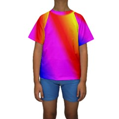 Multi Color Rainbow Background Kids  Short Sleeve Swimwear by Jojostore