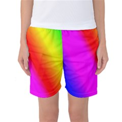Multi Color Rainbow Background Women s Basketball Shorts